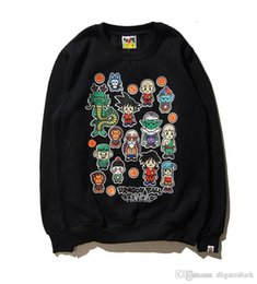 Wholesale Retro Fleece - Autumn Winter Teenager Hip Hop Plus Cashmere Hoodie Sweater Japanese Retro Cartoon Dragon Ball Hoodie Tops Size M-XL