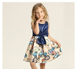 Wholesale Party Dresses For Teenage Girls - Girls Clothes Print Floral Kids 2017 Baby Girl Brand Bow For Teenage Ball Gowns Children Princess Party Costume Sleeveless Dress