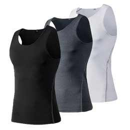 Wholesale Men Tight Vest - Mens Compression Top Tight Tee Shirt Fitness Men's Dry Quickly Vest Top Shirts Tank Tops, Black, White, Gray