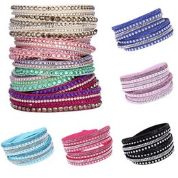 Wholesale Beach Circle - 16color New Fashion Women Multilayer Wrap Bracelets Slake Deluxe Leather Charm Bangles With Sparkling Crystal Women Sandy Beach Jewelry Gift