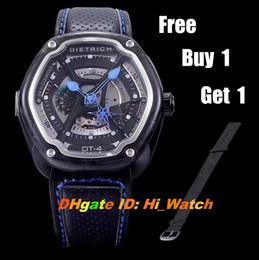 Wholesale Skeleton Watch Boxes - Super Clone Best Edition Dietrich Organic Time Satin Skeleton Black Fabric OT-4 Miyota 82S7 Automatic Blue Hands Mens Watch Original Box