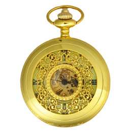 Wholesale Manual Pocket Watch - Gold Luxury Mens Mechanical Pocket Watches Manual Winding Noctilucent Dial Face Pocket Watch For Dad Gift