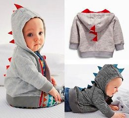 Wholesale Dinosaur Sweaters - 2017 New Autumn Winter Dinosaur Hoodies Jackets Kids Clothes Boys Jacket Outerwear Baby Sweaters Long Sleeve Coats Spring Coat 2 Colors