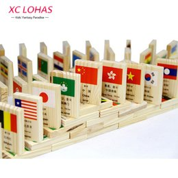 Wholesale Animal World Toys - 100pcs set Wooden National Flag Domino Children Puzzle Funny Domino Game Learning Flags World Countries Educational Toys