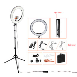 Wholesale Tripod Lights Photography - RL-18 55W 5500K 240 LED Photographic Lighting Dimmable Camera Photo Studio Phone Video Photography Ring Light Lamp&Tripod Stand 1305062