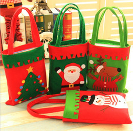 Wholesale Party Stores - Christmas Gift Bag XMAS Sweet Treat Candy Handbag Personalised Santa Snowman Elk Christmas Tree bags New Year Holiday Party store Decor