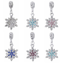 Wholesale Wholesale Snowflake Spacer Beads - Double Colors Rhinestone Crystal inlaid Silver Snowflake European Big Hole Loose Beads Spacer Charms Pendant For Bracelet PD169