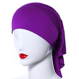 Wholesale Underscarf Headband - Wholesale-Muslim Women Soft Comfortable Inner Hijab Caps Islamic Underscarf Hats