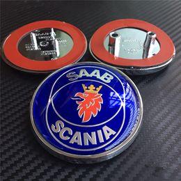 Wholesale Car Alloy Emblem Logo - 20pcs 4colors SAAB SCANIA emblem front rear car badges logo blue black carbon with 2 3 pins