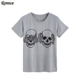 Wholesale Womens Clothing Skulls - Wholesale- ROMWE Womens T shirt Tops Korean Summer T-shirt Women Clothes Grey Skull Print Round Neck Short Sleeve T-shirt