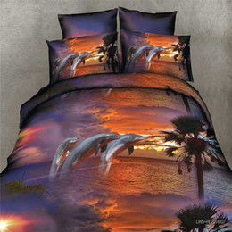 Wholesale Dolphin Sheets Queen - Wholesale- real 3d dolphin bedding set duvet doona cover bed sheet pillow cases 4pcs queen size velvety bedclothes,velvety microfiber