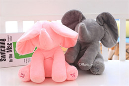Wholesale Singing Halloween Toy - 30cm Plush Elephant Dog Doll Peek A Boo Hide Seek Elephant Toy PEEK-A-BOO Singing Baby Music Toys Ears Flaping Move Funny Doll KKS01