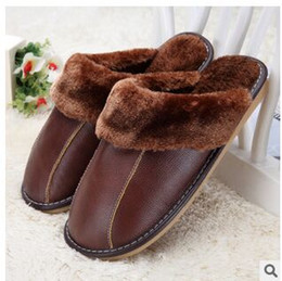 Wholesale Canvas Slippers For Men - Wholesale-Genuine Leather Shoes Men Warm Plush Floor Winter Home Slippers Slip Korean Thick Warm Cotton Slippers For Women Shoes