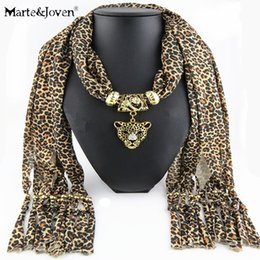 Wholesale Leopard Necklace Scarf - Wholesale-Fashion Vintage Chiffon Sexy Leopard Print Pendant Necklaces Jewelry Women Scarves Solid Polyester Tassels Long Scarf Jewelry