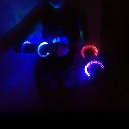 Wholesale Led Fluorescence Bracelet - LED Flash Blink Glow Bracelets Color Changing Light Acrylic Toys Lamp Luminous Hand Ring Party Fluorescence Club Stage Bangle Xmas Hot8