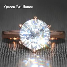 Rainha Brilliance 4 Carat ct F Cor Anel De Noivado De Casamento Moissanite Anel De Diamante 6 Pontas Para As Mulheres Sólidos 14 K 585 Rose Gold q171026 de