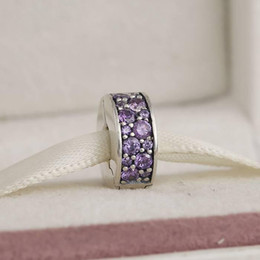 Wholesale Clear Flat Beads - Purple spaced clip charm beads 100% 925 Sterling-Silver-Jewelry Clear CZ Symbols Bead DIY Bracelets Bangles Accessories