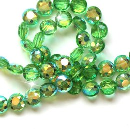 Wholesale String Color Bracelet - 70pcs string Fashion 10mm beads Button Shape Beads Flower Cutting Crystal Glass faceted Beads AB COLOR for Bracelet jewelry making DIY