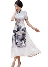 Historia de Shanghai Vietnam aodai ropa tradicional china Qipao vestido largo chino oriental manga corta cheongsam blanco ao dai desde fabricantes