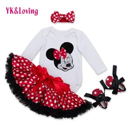 Wholesale Cotton Skirt Winter - Wholesale- 2016 New Arrival Fashion Baby Girl Clothes Sets Minnie Dot Cotton Long Sleeve Romper+Tutu Skirts+Headband+Shoes Infant Clothing
