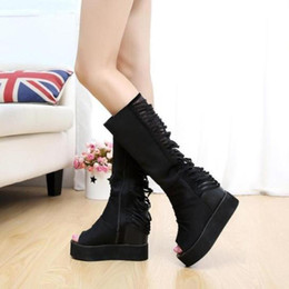 Wholesale Summer High Top Sandals - Wholesale- Platform Wedges Knee High Top Out Women Summer Sandal Boots 2015 New Cutout Peep Toe Woman Plus Size Long Boots WSH759