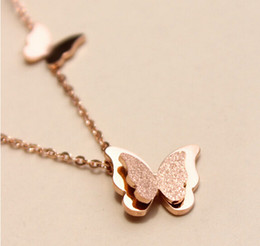 Wholesale Two Girls Necklace - New Arrival Top Quality 316L Titanium steel Luxury Two layers Butterfly Pendant Women and Girl Charm Necklace Jewelry PS4012