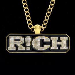 Wholesale Indian Men Wear - In 2017 RICH theRapofChina hot models diamond pendant jewelry gold necklace hip-hop long men wear fashion