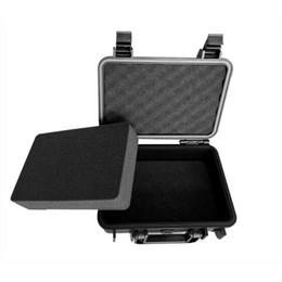 étuis de transport de caméra Promotion Vente en gros - étui rigide étanche avec de la mousse pour caméra vidéo équipement transportant cas noir ABS en plastique scellé boîte à outils portable de sécurité, DJ9006