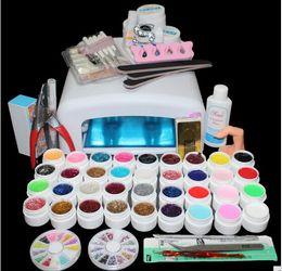 Wholesale New 36w Uv Lamp - Art Nail New Pro 36W UV Lamp & 36 Color UV Gel Nail Art Tools polish Set Kit