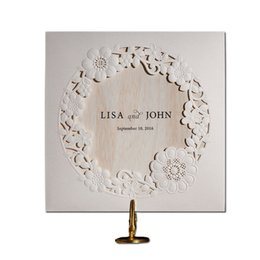 Wholesale 12pcs Lot Cheap White Vintage Laser Cut Lace Flower Wedding Invitations Elegant Birthday Party Decorations Cards 2016 New JJ785