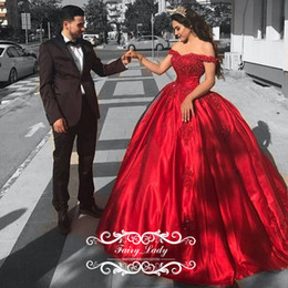 Wholesale Cheap Girls Dress Up - Cheap Red Satin Quinceanera Dresses For Girls 2017 Ball Gown Off Shoulder Appliques Beads Long Sweet 16 Prom Dress Formal Gowns