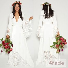 Wholesale Custom Hippie Wedding Dress - 2017 Simple Bohemian Counrtry Wedding Dresses Long Sleeves Deep V Neck Floor Length Summer Boho Hippie Beach Western Bridal Wedding Gown