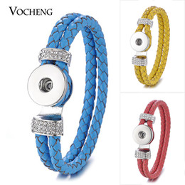 Wholesale Leather Braided Crystal Bracelet - NOOSA Ginger Snap Leather Bracelet Double Braided with Crystal for 18mm Button Jewelry 17 Colors VOCHENG NN-578