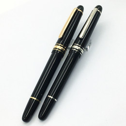 Wholesale Steel Fountain - Luxury MT Le Grand Rollerball # 145 pen , Black pens precious resin with MB white star inlay serial number