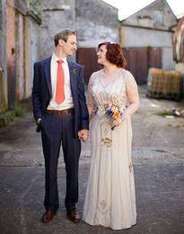 Wholesale Custom Wedding Underskirt - Plus Size 2017 Jenny Packham Wedding Dresses for Bohemian Brides Formal Wear Sale Sale Two Piece Style Bridal Gowns with Satin Underskirt XG