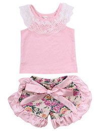 Wholesale Korean Casual Outfits - Wholesale- 2016 Summer Korean Baby Girls Clothing Set Children Baby Girl Lace Tops T-shirt+Floral Shorts Culottes 2pcs Suit Outfits Set