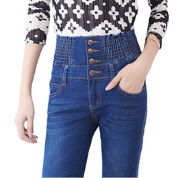 Wholesale Skinny Models High Waist - Wholesale- women fashion spring Autumn explosion models Slim high elastic waist jeans female fat MM large size jeans feet Wholesale female
