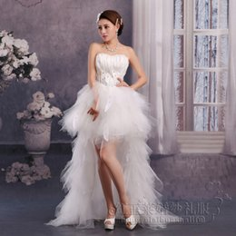 Wholesale Corset Feather Wedding Dresses - 2016 HighLow Wedding Dresses Cheap Bridal Gowns Princess Sweetheart Corset Organza Cathedral Church Ball Gown Wedding Dresses with Beading