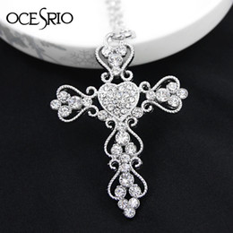 Wholesale Nickel Free Cross - Wholesale-Gold plated big Cross fashion chain necklaces pendants 2016 for women baroque costume silver plated nickel free gifts nke-k05