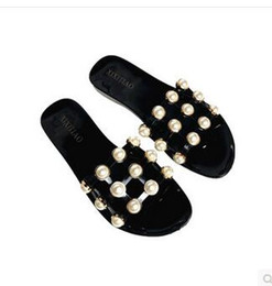 Wholesale Jelly Nude Heel - 2017 summer top quality luxury brand sexy Breathe pearl Rivets hollow beach flats Beach casual Jelly slippers