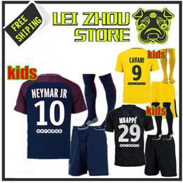 Wholesale Boys Football Jersey Xl - kids Kits child Football Shirt survetement verratti Black cavani di maria maillot de foot 2017 psg boys Mbappe Draxler NEYMAR JR JERSEY