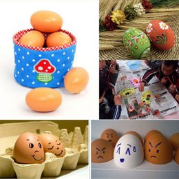 Wholesale Hen Nesting - Wholesale- 6pcs Wood Chicken Egg Hen Easter Egg Decoration Dummy Nesting Fake Eggs Baby Toys Kitchen Early Educational Toys