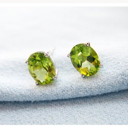 Wholesale Gemstone Stud Earrings For Women - Wholesale price silver Stud Earrings 925 Solid Sterling Silver jewelry 100% natural olivine gemstone stud earrings for woman gift