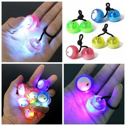 Wholesale Cheap Blue Roll - Cheap LED Thumb Chucks Roll Game Finger Yo Yo Ball with Exchangable Balls Control Fluorescent EDC Fidget Toys Novelty Toys DHL