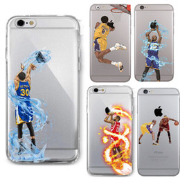 Wholesale Kobe Iphone Case - Curry Kobe James sport phone case for iphone 7 6 6s plus galaxy s7 note5 soft TPU painting covers basketball football cases SZ003C