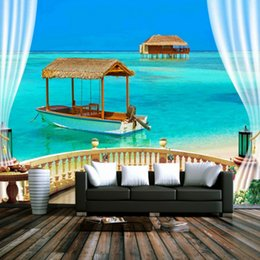 Wholesale White Beach Painting - Free Shipping 3D Stereo Custom Beach Balcony Sea View Blue Sky White Cloud Background Wallpaper Painting Living Room Bedroom Mural