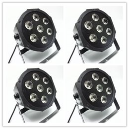 Wholesale Stage Lights Led Can - 2018 4pcs lot 7x12 Watt Quad 4in1 RGBW 5 8CH Disco Lighting Dmx512 Led Par Can DJ Stage Wedding Party Uplighting