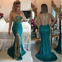 Wholesale Turquoise Blue Split Prom Dresses - 2017 Turquoise Hunter Mermaid Long Sleeve Evening Dresses Sparkly Rhinestones Beaded Lace Appliques Split Prom Dresses Illusion Back