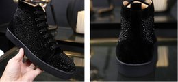 Wholesale Mens Studded Shoes - drop shipping new casual Mens Casual shoes Red Bottom Wine black Suede Luxury Spring Autumn Flats Studded Spikes Sneakers High cut Dress sho