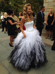 Wholesale Lovely Sexy Gowns - White and Black Quinceanera Dresses Lovely Sweetheart Off the Shoulder Ball Gown Debutante Gowns Organza Ruffle Beading Sweet 16 Dress